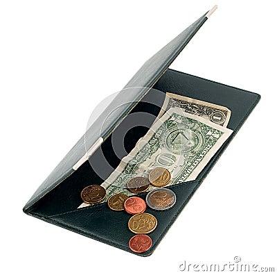 Usd dollar bill euro coin