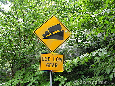 USE LOW GEAR sign.