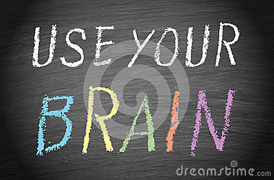 blackboard with white letters use your brain stock photo image of uppercase your 20621