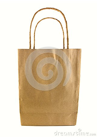 Used brown paper bag isolated