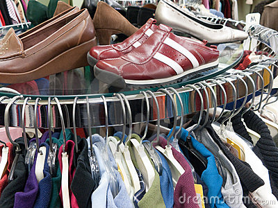 Used Clothing and Shoes at Thrift Store