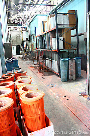 Used Dirty Filters Stored on Industrial Hallway