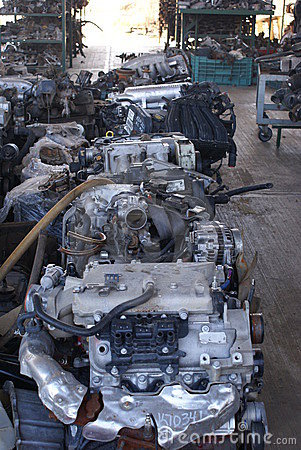 Used motors and spares in a junkyard