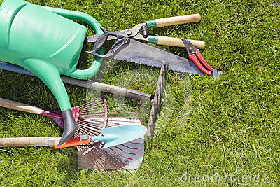Used ​​old garden tools background