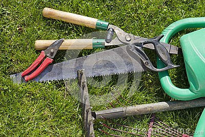 Used old garden tools background