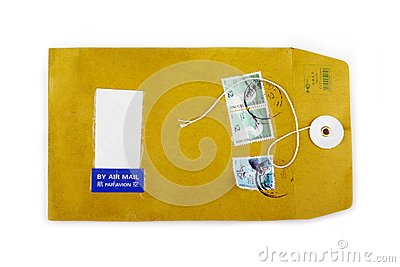 Used open paper envelope with postage stamps