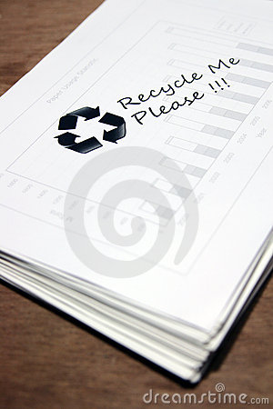 Used paper with recycle sign