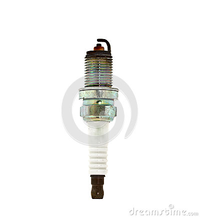 Used spark plug on white background