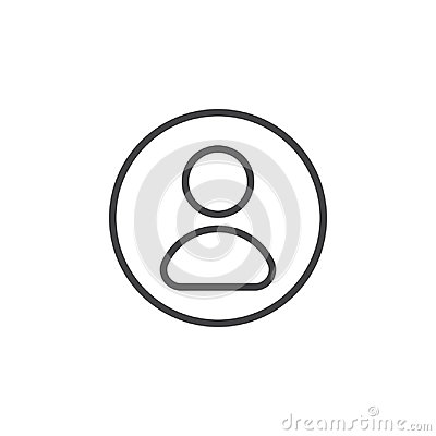 Free User, Account Circular Line Icon. Round Simple Sign. Royalty Free Stock Image - 95310666
