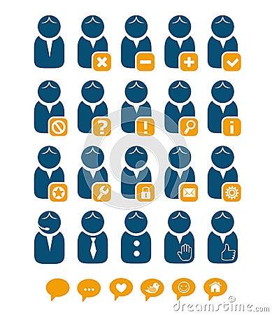 User web icons blue set
