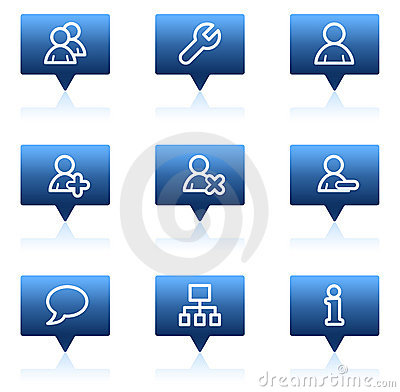 Users web icons, blue speech bubbles series