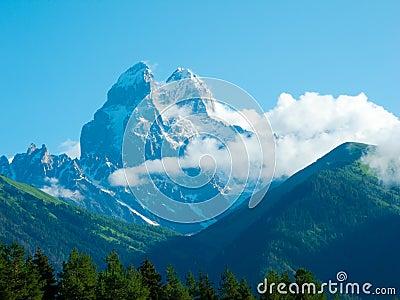 Ushba peaks in Svaneti
