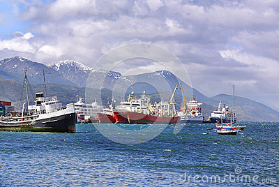 Ushuaia harbor Editorial Stock Photo