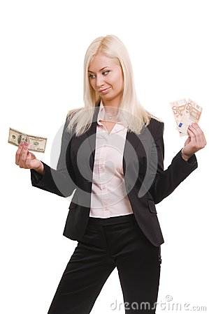 Usiness woman holding euro and dollars
