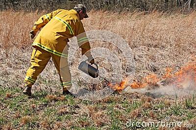 Using a burn pot Editorial Photo