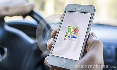 Using google maps in car Editorial Image