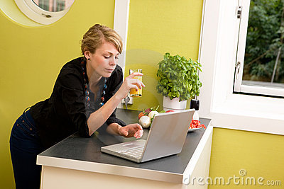 Using Laptop in Kitchen
