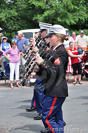 USMC Marine Forces Reserve Band in Parade Editorial Photography
