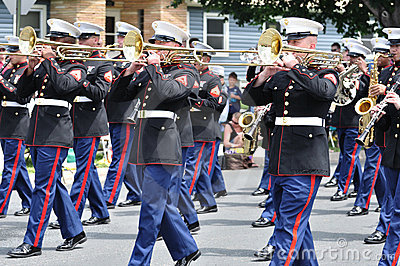 USMC Marine Forces Reserve Band Playing in Parade Editorial Photo