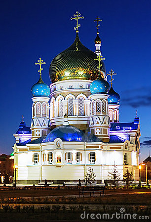 Free Uspensky Cathedral In Omsk At The Evening, Russia Royalty Free Stock Photo - 17580045