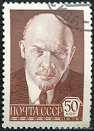 USSR - CIRCA 1976: shows Vladimir Ilyich Lenin