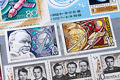 The USSR stamps on the subject of space