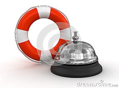 Usługowy dzwon i Lifebuoy (ścinek ścieżka zawierać)