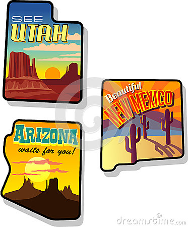 Free Utah, Arizona And New Mexico Travel Stickers Stock Image - 27373241