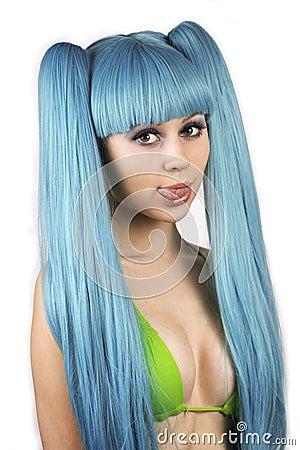 Сute woman with blue hair in bikini