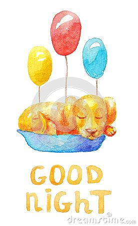 Сute yellow puppy sleeping in a blue basket with three different colored balloons Stock Photo