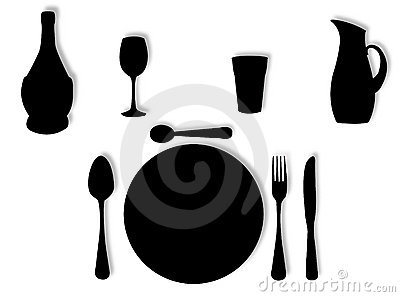 Utensils in silhouette