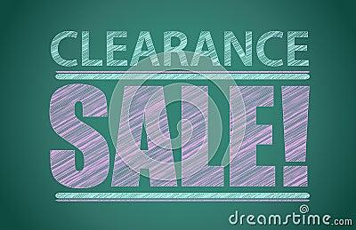 Utförsäljningen uttrycker skriftligt på den svart tavlan