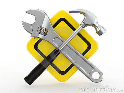 Utility. Tools, Wrench and hammer. 3d