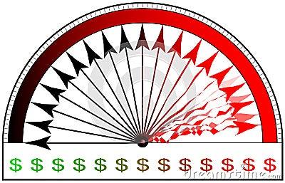 Utslitet räkneverk för dollar
