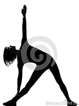 Utthita trikonasana triangle pose position woman