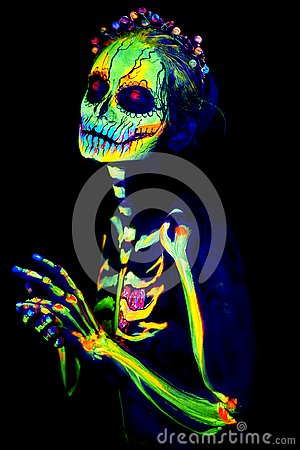 Free UV Body Art Painting Of Helloween Female Skeleton Stock Photography - 129897932