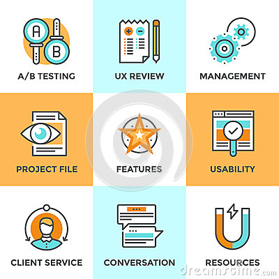 Free UX And Usability Testing Line Icons Set Stock Photo - 52687290