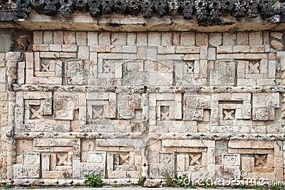 Uxmal Carved Wall Yucatan Mexico