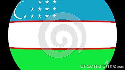 Uzbekistan flaggaövergång 4K stock illustrationer