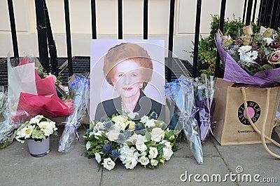 Uznania Ex Brytyjski Pierwszorzędny minister Margret Thatcher Który Umierał L Obraz Editorial