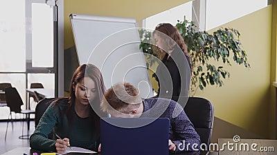 Várias equipes de negócios talentosos trabalham em suas mesas, têm reuniões, discussões Tempo de trabalho vídeos de arquivo