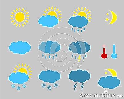 Vädersymboler - uppsättning.