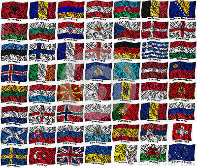 Våg färgglada Europa flaggor