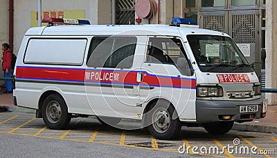 Véhicule de police à Hong Kong Image stock éditorial