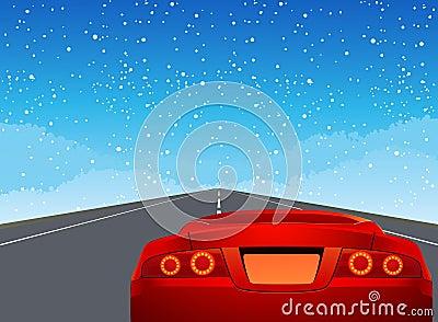 Véhicule de sport sur la route