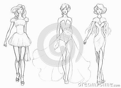 V tements de haute couture de croquis couturier illustration stock image 40830244 - Dessin couturiere ...