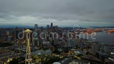 Vídeo aéreo crepuscular de Seattle video estoque