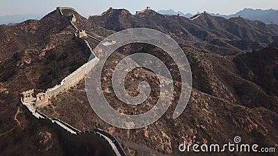 vídeo aéreo 4k de la Gran Muralla de Jinshanling almacen de metraje de vídeo