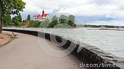 vídeo 4K Paisaje tranquilo, vista de la bahía en Helsinki almacen de video