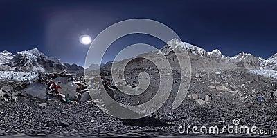 360 V av Everest Base-lägret i Khumbu glacier Khumbu-dalen, nationalparken Sagarmatha, Nepal Himalayas EBC stock video